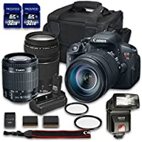 Canon EOS T5i Camera Bundle with Canon EF-S 18-55mm f/3.5-5.6 IS STM Lens + Canon EF 75-300mm f/4-5.6 III Lens + 2 PC 32 GB Memory Card + Camera Case + Flash + Power Grip