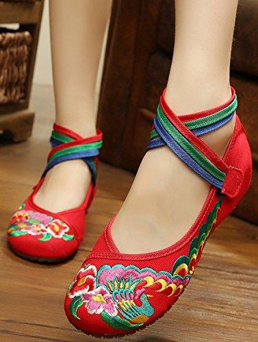 Icegrey Bordado Hecho A Mano Crossover Tobillo Zapatos Planos Para Las Mujeres Rojo