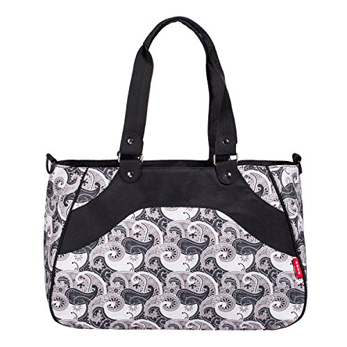 SoHo diaper bag All In One 8 pieces set nappy tote bag large capacity for baby mom dad stylish insulated unisex multifunction waterproof includes changing pad stroller straps Black Charcoal Paisley