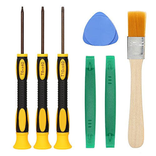 T8 T6 T10 Screwdriver Set for Xbox One Xbox 360 Controller and PS3 PS4, Safe Prying Tool and Cleaning Brush, Computer Notebook (1 Screw Set)