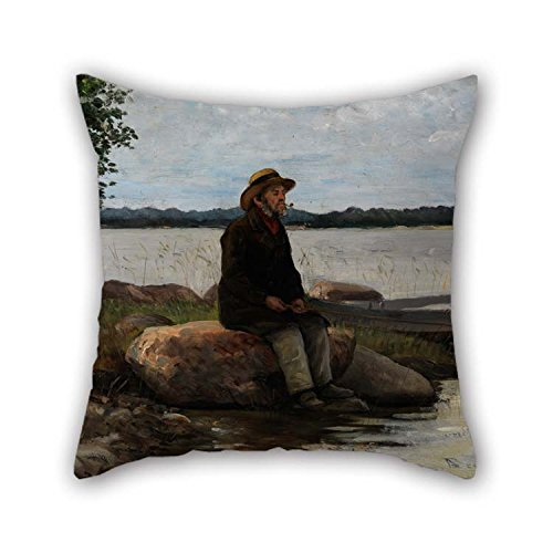 Anglers Sheet Protector (Oil Painting Becker Von, Adolf - An Angler Throw Pillow Covers 16 X 16 Inches / 40 By 40 Cm Best Choice For Divan Saloon Home Office Lover Deck Chair Bar With 2 Sides)