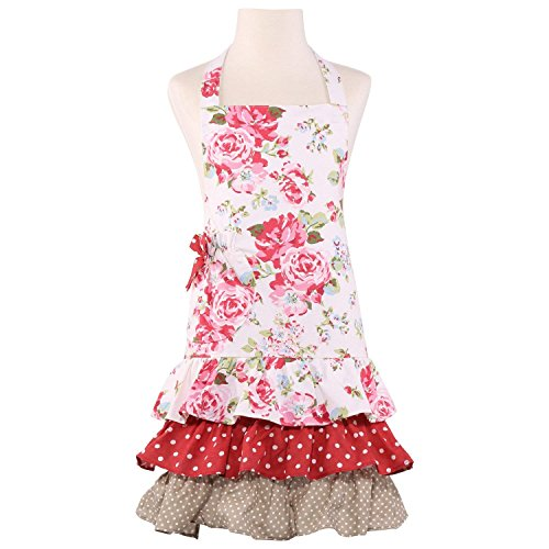 NEOVIVA Children Kitchen Aprons for Girls with Pocket for Matching Mother and Daughter Apron Set, Style Doris, Floral Lollipop - Apron Mothers