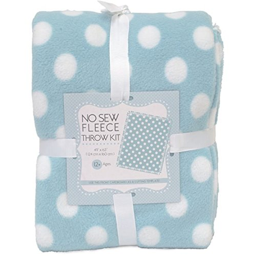 Dots On Blue No-Sew Throw Anti-Pill Fleece Fabric Kit by David Textiles