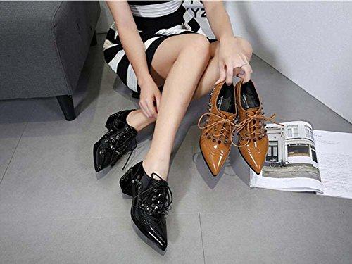 Corte Zapatos Cuero Zapatos 5cm Tamaño Shoelace Hermoso Zapatos De Mujer Chunkly Británico Zapatos Estilo Pump 5 Eu Bullock 34 Size Black Casual Heel Ol Remaches 40 Punk Patente Punta Color Toe ZRSzqv5