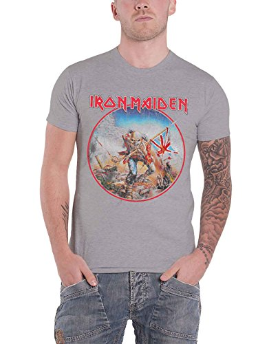 Iron Maiden 'Trooper Vintage Circle' (Grey) T-Shirt (small)