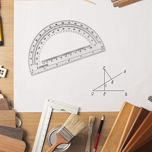 Coopay 24 Pack Plastic Protractors Clear Protractor Student Math Protractor Set 180 Degrees for Angle Measurement, 6 Inches by Coopay (Image #3)