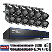 SANNCE 16CH HD 720P Security Camera System and (12) 720P Superior Night Vision CCTV Cameras with P2P Technology, Motion Detection & Alarm Push, Vandal and WeatherProof--NO HDD