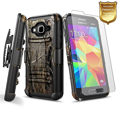 NageBee for Samsung Galaxy Grand Prime Case, J2 Prime Case, Go Prime, Grand Prime Plus w/[Tempered Glass Screen Protector] [Heavy Duty] Shock Proof Belt Clip Holster Kickstand Combo Rugged Case -Camo