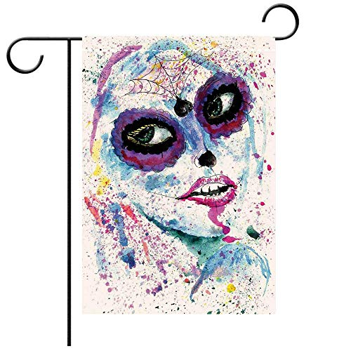 Artistically Designed Yard Flags, Double Sided Girls Grunge Halloween Lady with Sugar Skull Make Up Creepy Dead Face Gothic Woman Artsy Blue Purple Best for Party Yard and Home Outdoor Decor -