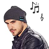 MOCREO Fashion Bluetooth Knit Hat with Stereo Headphones and Microphone Warm Chunky Soft Beanie Hands Free Talking for iPhone Samsung Android And iPad Men and Women Christmas Gift(Gray)
