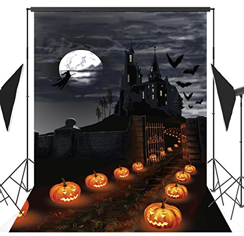 5x7ft Halloween Horror Nights Moon & Mysterious Terror Castle & Costume Party Masquerade Decoration Photography Backdrop Vinyl Pictorial Cloth Photo Video Studio Props Customized Background AA-036 (Halloween Food Ideas Easy)