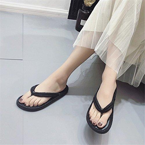 EU Toe Tejiendo Sandalias Black 39 beauty Lino Beige Angel Grass Clip Lady'S love Plano Zapatillas Size 3 Inferior y Roma 1 Color qFzRYx