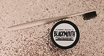 BLACK MOUTH Organic Activated Charcoal Teeth Whitening Powder 2 oz (MINT) ALL Natural Teeth Whitening Powder plus FREE Charcoal Wheat-Straw Toothbrush!