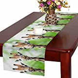 InterestPrint Giraffe Heads Wild Animals Table Runner Linen & Cotton Cloth Placemat Home Decor for Kitchen Dining Wedding Party 16 x 72 Inches
