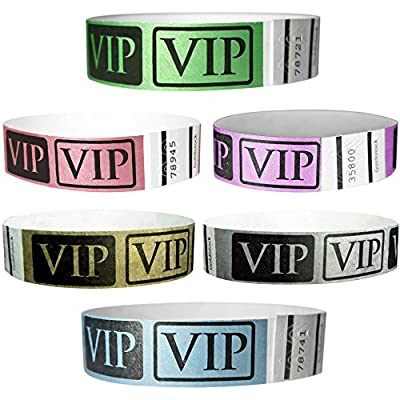 "Goldistock 3/4"" Deluxe VIP Metallic Tyvek Wristbands Variety Pack- Metallic Gold & Silver, Neon Green & Yellow, Bright Blue & Red"