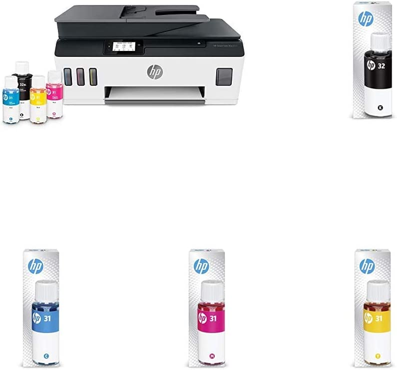 HP Smart -Tank Plus 651 Wireless All-in-One Ink -Tank Printer | up to 2 Years of Ink in Bottles | Auto Document Feeder | Mobile Print, Scan, Copy (7XV38A) with Additional Ink Bottles - 4 Colors