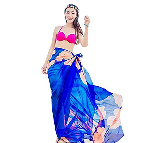 56413c8f691ae Herebuy8 Womens Sexy Beach Chiffon Sarongs Hawaiian Swimsuit Cover-up Wraps  Hibiscus Print Plus Size