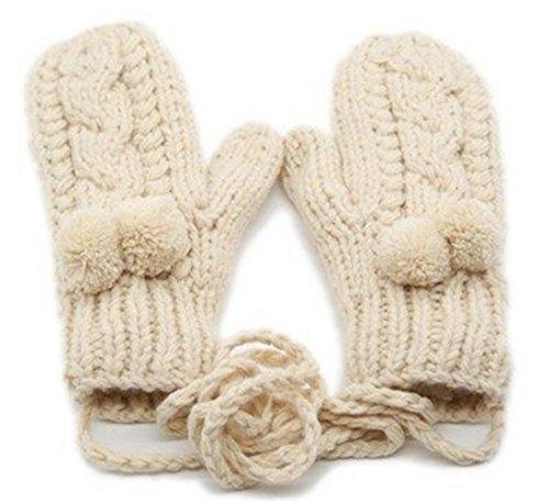 あなたが良くなります動物園鍔Youchan(ヨウチャン) レディース ミトン 手袋 グローブ ニット ケーブル編み ポンポン 裏起綿 防寒 シンプル キュート 冬