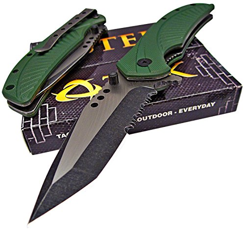Cheap TEK Tactical Edge Spring Assisted Opening Folding Pocket Knife: OD Green G10 Handles – Modified Tanto Blade – Razor Sharp – Brand NEW