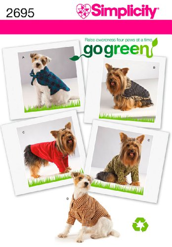 Simplicity Go Green Pattern 2695 Dog Outfits, Sizes 4-31 Pounds XS-S-M