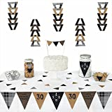 30th Milestone Birthday - Dashingly Aged to Perfection - Triangle Party Decoration Kit - 72 Pieces