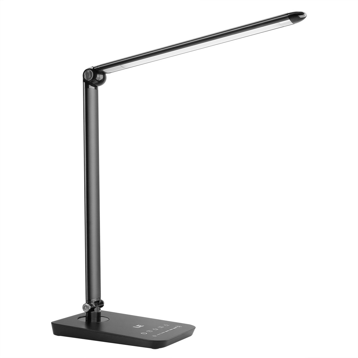 LE Dimmable LED Desk Lamp, 3 Modes Table Light 7 Level Brightness Adjustable 8W Touch Control Panel Eye-care Folding Reading Relaxing Studying Bedroom Bedside Office Black