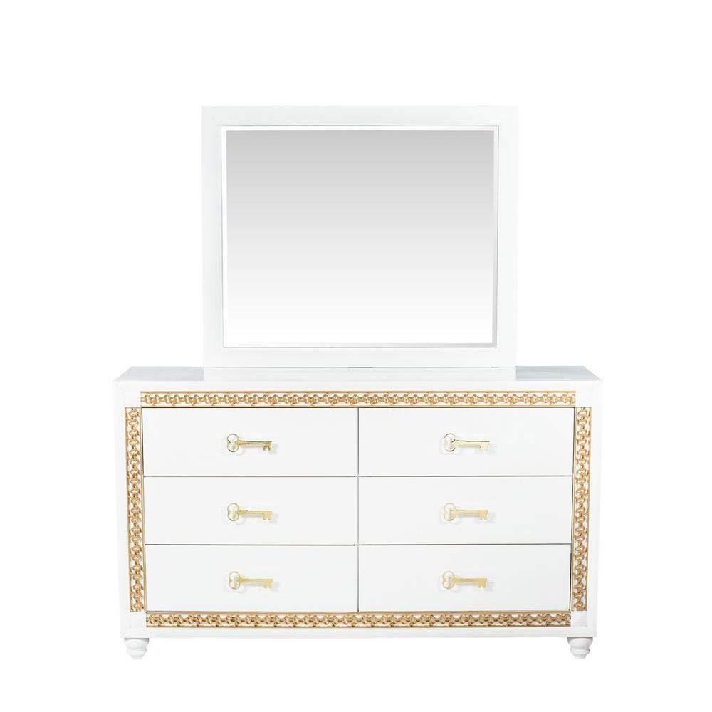 We The Best Home DJ Khaled Young World Dresser White Gold Trim Children's Bedroom Furniture Set