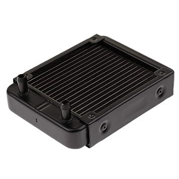 Magideal Intercambiador de Calor de Agua de Radiador Aluminio 18pipes para Boca Recta CPU