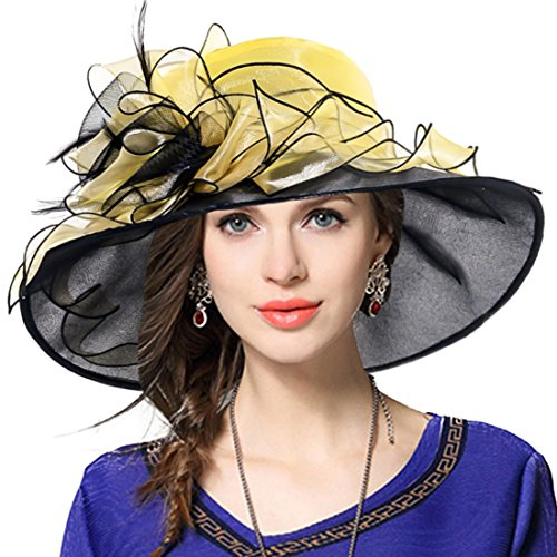 Women Floral Wedding Dress Tea Party Derby Racing Church Hat (Yellow&Black)