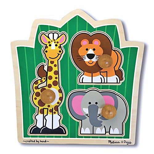 MELISSA & DOUG SAFARI JUMBO KNOB PUZZLE (Set of 12) (Safari Knob Jumbo)