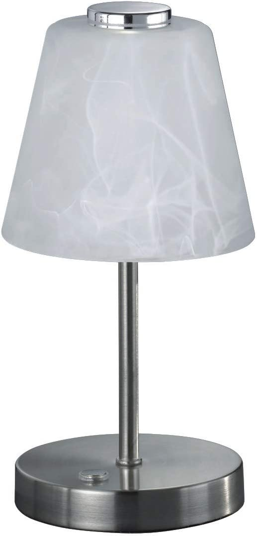 Metall Glas alabasterfarbig wei/ß Reality Leuchten Emmy R52541907 LED Tischleuchte 2.5 Watt Nickel Matt 4x fach Touch