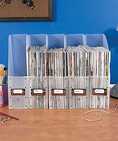 Set Of 5 Clear Plastic Brights File Folder Paper Magazine Holder Office  Desk Storage Organizer