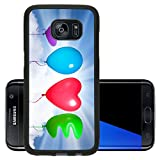 Luxlady Premium Samsung Galaxy S7 Edge Aluminum Backplate Bumper Snap Case IMAGE ID: 25415339 love text shaped color balloons against sky background