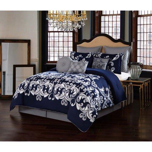 V19.69 Italia Comforter Set, Queen, Dolce Vita Silver/ Navy