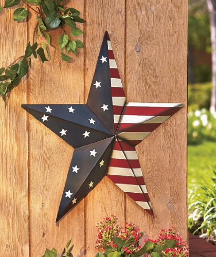 "24"" Americana Star Yard Stake or Wall Hanging Primitive Country Patriotic Stars Stripes Flag Decor"