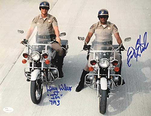 (Eric Estrada Ponch Larry Wilcox Jon Chips Autographed Signed 11x14 Photo - JSA Authentic)