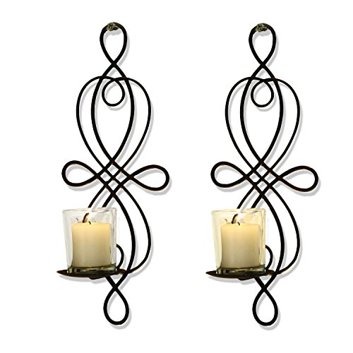 Homebeez Iron Vertical Wall Hanging Candle Holder Sconce  Bl