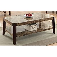 ACME Furniture 82125 Dacia Coffee Table, Faux Marble & Brown