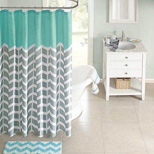 Intelligent Design ID70-365 Nadia Shower Curtain 72x72 Teal (Teal And White Chevron Rug)