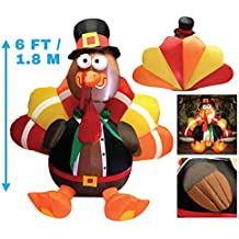 Joiedomi 6 Foot Thanksgiving Inflatable Turkey; LED Light Up Inflatable Turkey with Pilgrim Hat Perfect for Thanksgiving Autumn Decorations by