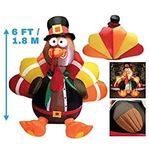 6 Foot Thanksgiving Inflatable Turkey; LED Light Up Inflatable Turkey with Pilgrim Hat Perfect for Thanksgiving Autumn Decorations by Joiedomi