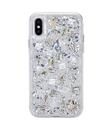 iPhone X Case,HuiFlying Luxury Gold Foil Glitter Case - Made with Real Natural Flowers - Durable Shockproof TPU Frame and PC Back Protective Case for Apple iPhone X 5.8 inch (Silver Shell)