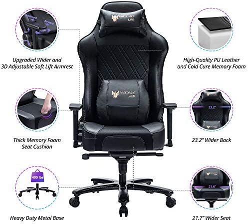 FANTASYLAB 400lb Gaming Chair Big Tall Breathable Office Racing Computer Chair, 3-D Adjustable Armrest Air-Cooling System Heavy Duty Metal Base 514kiXhjAiL