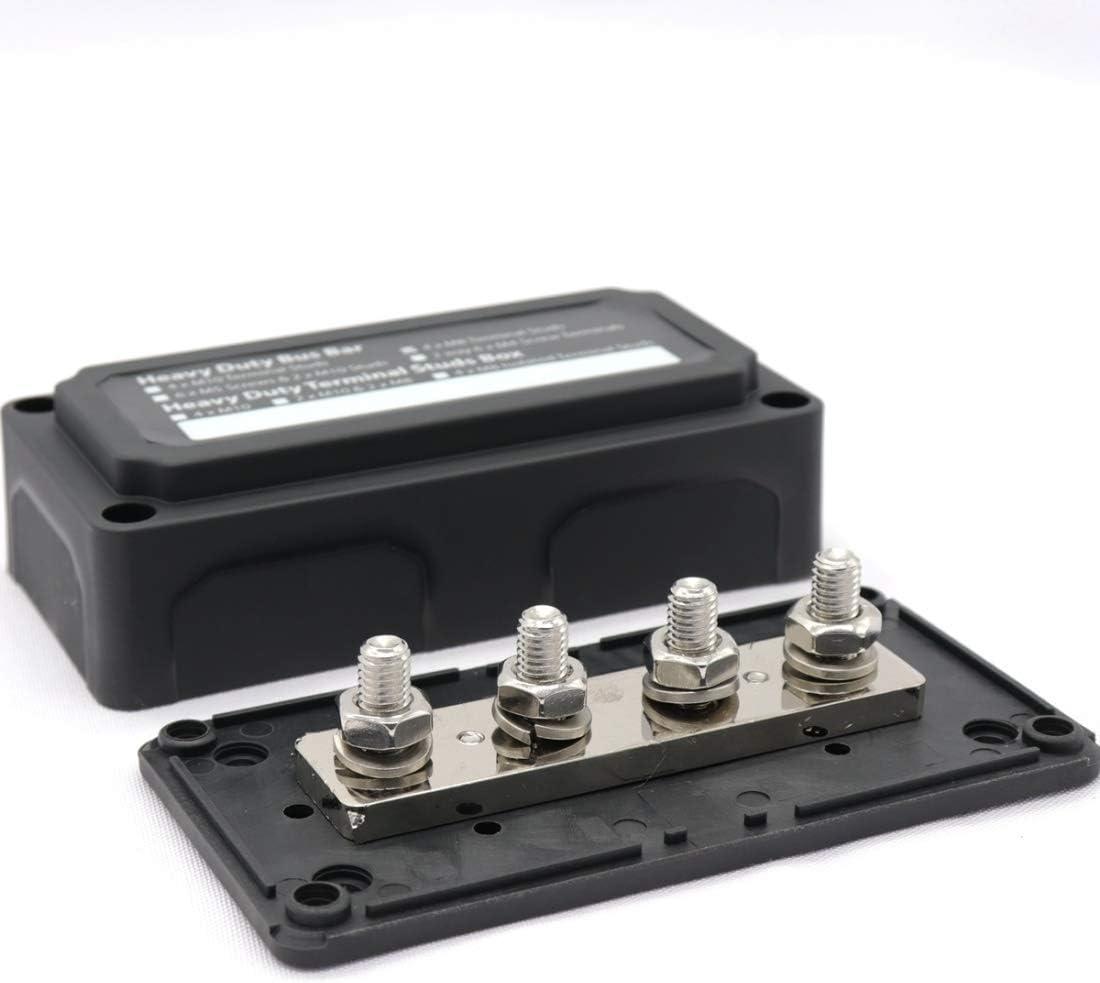 for el coche//RV//Barco Turbocompresor Max DC 48V 300A Pesados Dise/ño M/ódulo Bus Terminal Bar 4 pernos M8 Caja de barras