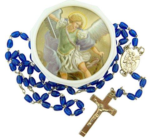 Acrylic Blue Prayer Bead Saint Michael the Archangel Rosary, 18 Inch