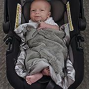 Super Soft Plush Satin Border Baby Mini Lovey Blankets, Gray