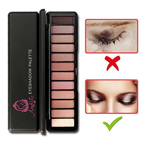 Professional Eyeshadow Palette Makeup, AMBITO 12 Colors Matte Shimmer Eye Shadow Pallet Cosmetic Nude Natural Warm Smooth Eye Shadows High Pigmented Smokey Eyes Make-up Kit - - Shades Versace Dark