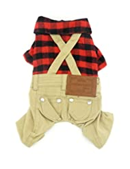 SMALLLEE_LUCKY_STORE Pet Clothes for Small Dog Cat Red Plaid ...