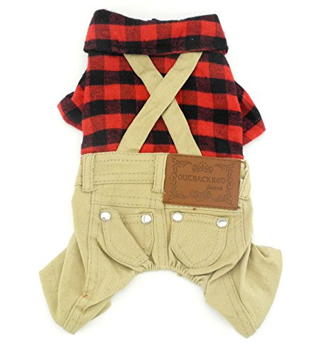 SMALLLEE_LUCKY_STORE Pet Clothes for Small Dog Cat Red Plaid Shirts Sweater with Khaki Overalls Pants Jumpsuit Outfits XS