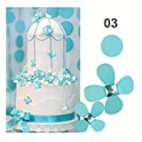 Amaonm®12 Pcs 3d Beautiful Flowers Wall Decals Fashion Wall Decor Removable Decal Floral Wall Stickers Home Decorations Art Decor for Kids Room Bedroom Living Room Bathroom Windows (Turquoise)